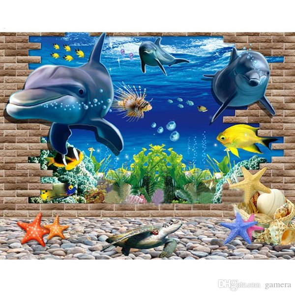 Wholesale- 2016 60*90cm Wallpapers 3D Ocean World PVC paper PVC Wall paper Removable Waterproof Decorative Decor Free Shipping DP130