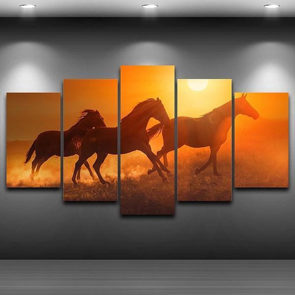 Wall Canvas Artwork Painting Poster Frame For Room Home Decoration 5 Panel Pictures Sunset Animal Horses Modern HD Printed Photo