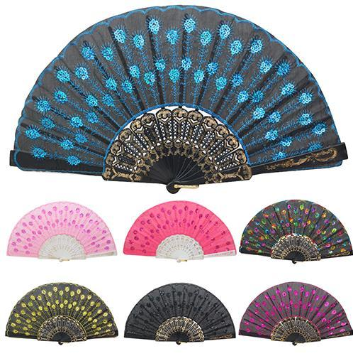 Spanish Style Embroidered Sequins Folding Flower Lace Fan Dance Hand Fans Party Wedding Decor Dancing Supplies