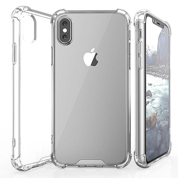 Şeffaf Darbeye Akrilik Hibrid Zırh Tampon Yumuşak TPU Çerçeve Cep Telefonu Kılıfı iphone X 8 7 6 s Artı
