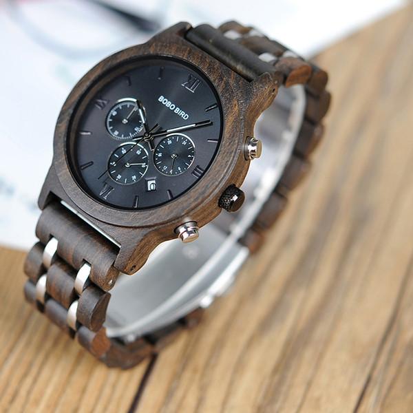 BOBO BIRD Luxury Watch Uomo Metal Cronografo in legno da polso Orologio automatico Date Armbanduhr U-P19