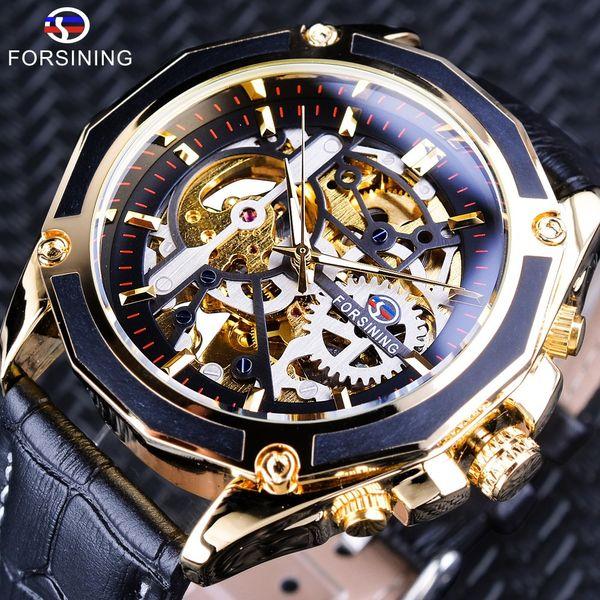 Forsining Transparente Caso Gear Movimiento Steampunk Hombres Automático Esqueleto Reloj Top Brand Lujo Open Work Design Self Winding S923