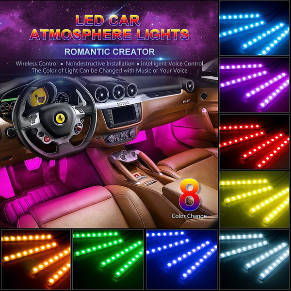 Wireless Remote Car LED Strip Light 4pcs 48 LED 12V RGB Music Car Interior Light LED Under Dash Lighting with Sound Active Function