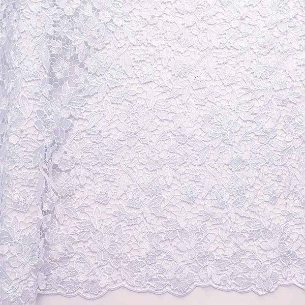 Nigerian White Lace Fabrics High Quality 2018 African Guipure Lace Fabric Royal Blue Africa New Lace Fabric Designs With Beads