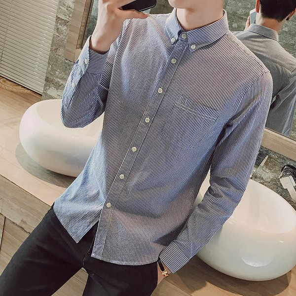 2017 fashion New Arrival Camisa Masculina Solid Color Long Sleeve Self-cultivation Slim Fit men Shirt Men's Dress Free Shipping