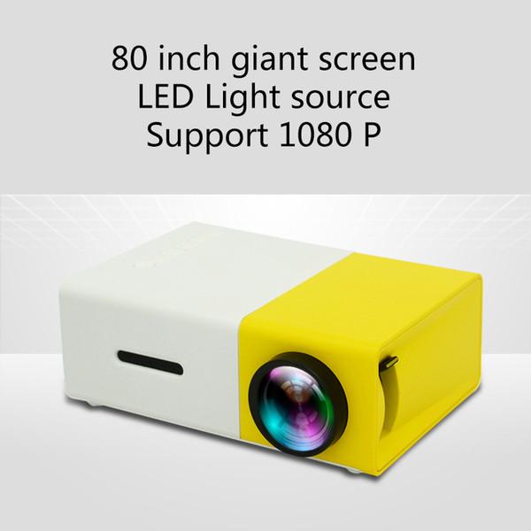 2018 üst YG300 LED Taşınabilir Projektör 400-600LM 3.5mm Ses 320x240 Piksel YG-300 HDMI USB Mini Projektör Ev Medya Oynatıcı