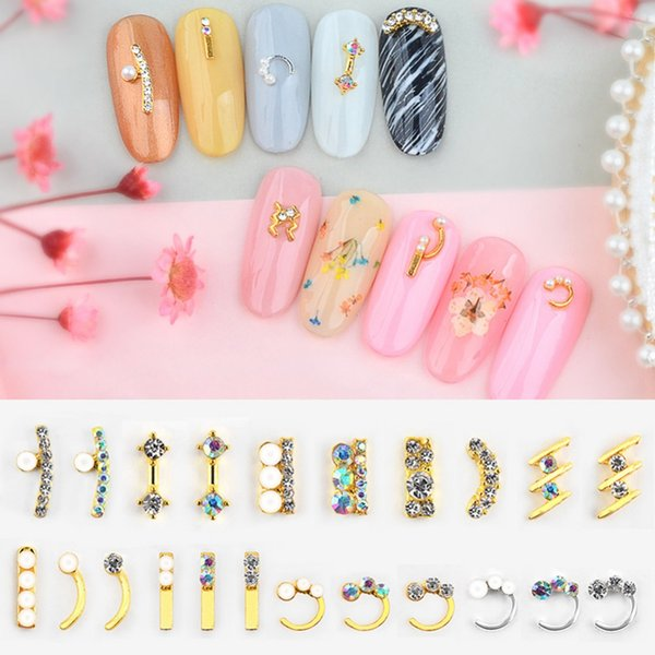 24pcs/set 3D Nail Art Rhinestones Pearls Crystal Metal Gem Stones Manicure Studs Charms Nail Tips Decoration Accessories#287857
