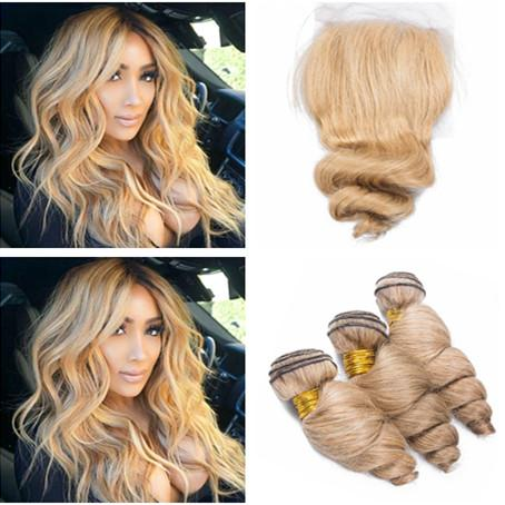 Loose Wave Wavy Peruvian Honey Blonde Human Hair 3Bundles with Closure #27 Light Brown 4x4 Front Lace Closure with Weaves Extensions