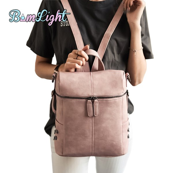 Bomlight Simple Style Backpack Women PU Leather Backpacks For Teenage Girls School Bags Fashion Vintage Solid Shoulder Bag Pink
