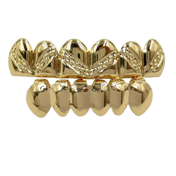 18K Real Gold Braces Punk Hip Hop Teeth Grillz Dental Mouth Fang Grills Up Bottom Tooth Cap Cosplay Party Rapper Jewelry Gifts Wholesale
