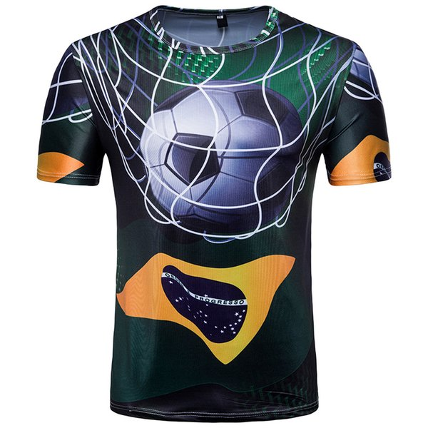 Brazil 3D Printed Team Soccer T Shirts Short Sleeve Casual Men World Cup T Shirts Football Jersey Plus Size M-2XL