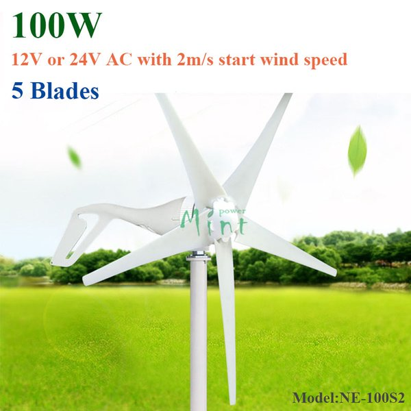 100W 5blades AC 12/24V wind turbine generator with low start wind speed 2m/s for home use