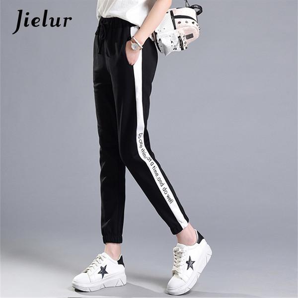 Primavera Verano Nuevo Leers Impreso Ocio Pantalones de Chándal Mujeres Casual Rayas Blancas Negro Pantalon Femme Cordón Pantalones Elásticos