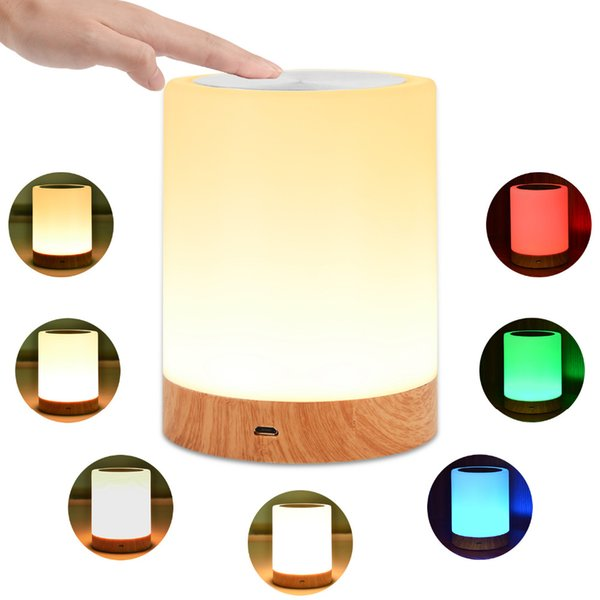 LED Bedside Table Lamps Touch Lamp Night Light Rechargeable Warm White Light RGB Color Bedrooms Living Room Portable