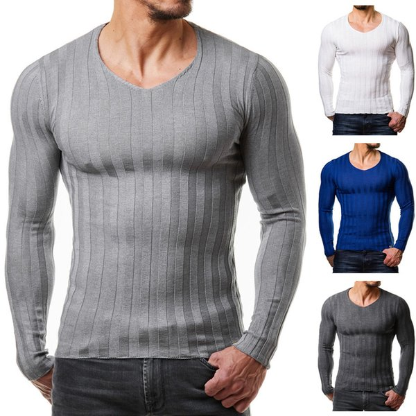 2018 Men Autumn Casual Sweater Plus Size Slim Fit Knitted Basic Sweaters Long Sleeve V Neck Fashion Mens Warm Sweaters Muscle