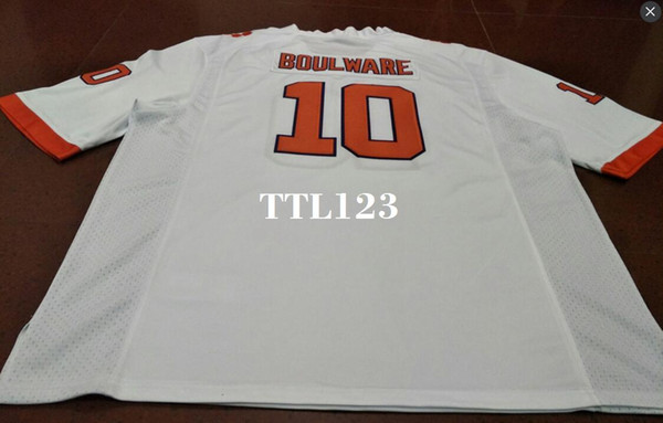 Men Clemson Tigers #10 Ben Boulware Orange White College Jersey or custom any name or number jersey