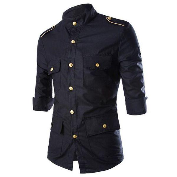 Patchwork Casual Shirt Hommes Poches Décor Blusa Vente Chaude Partie Hommes Chemises Fitness Nouveauté Night Club Blouse Gentleman Vêtements