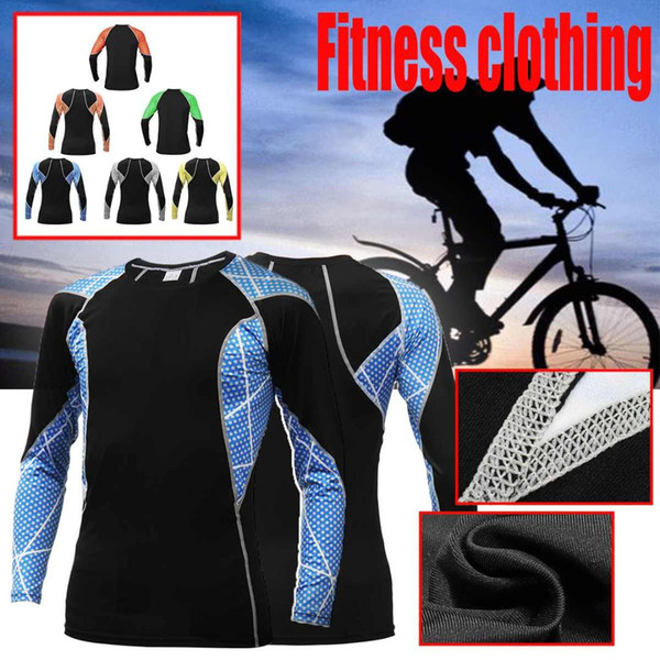 Men Quick Dry Running T-Shirts Running Slim Fit Tops Tees Sport Men 's Fitness Gym T Shirts Muscle Tee Cycling Soccer Jersey