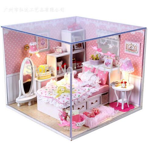 Free Shipping D IY handmade miniature Doll house Angels Dream assembling model wooden dollhouse