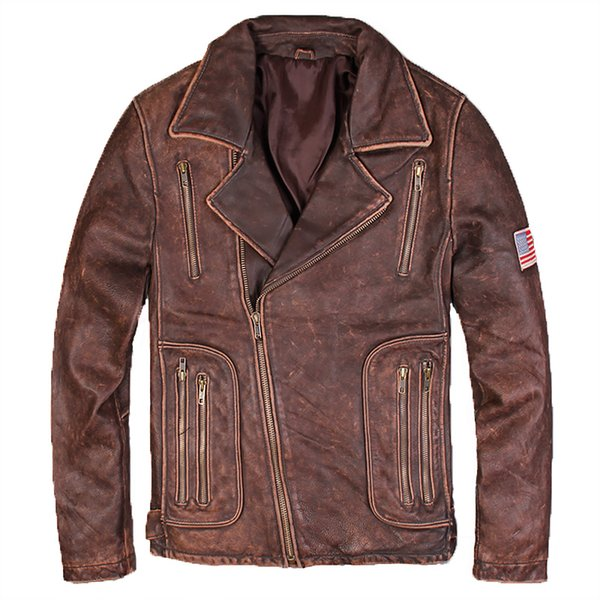 2018 Men Diagonal Zipper Vintage Brown Leather Motorcycle Jacket Plus Size 3XL Slim Fit Russian Leather Biker Coat FREE SHIPPING
