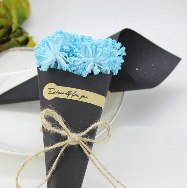 100 pz / lotto fai da te fatti a mano di carta kraft scatole di caramelle con corda tag fiore coni gelato porta decorazioni da tavola di nozze partito confezione regalo