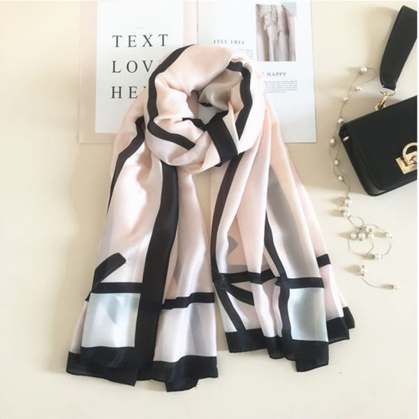 2018 New Imitation Silk Scarves For Women Long Gauze Kerchief Design Printing Soft Shawl 12 Colors Wholesale
