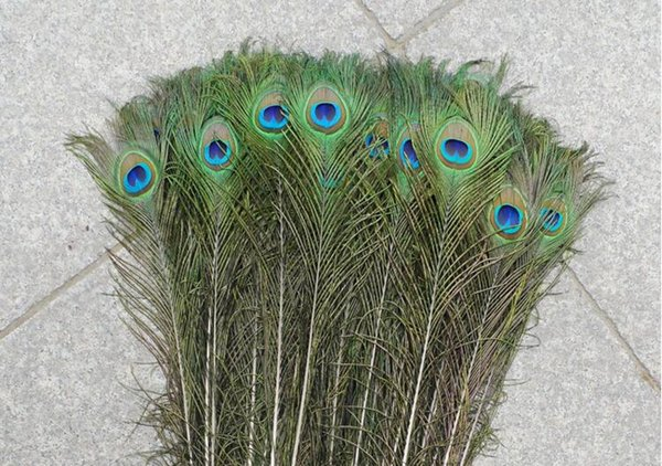 """top popular New 100pcs Feather Peacock TAILS 10""""-12"""" Tail Feathers Fan For Wedding Party Decoration Craft Diy 2019"""