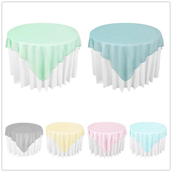 """best selling 72""""X72"""" Party Table Cloth Sheer Organza Tablecloth for Weddings Valentine's Day Hotel Restaurant Table Overlays Cloth"""