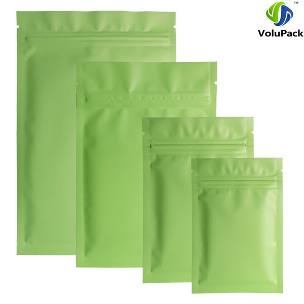 Different Sizes 100pcs Heat Sealing Flat Ziplock Pouches Tear Notch Matte Green Aluminum Foil Zip Lock Plastic Bag