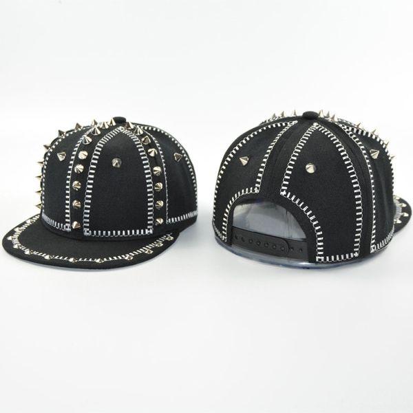 Cool Men Hip Hop Snapback Hat Women Punk Spike Stud Baseball Cap Rock Dance Headgear