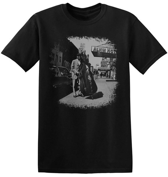 Jazz T Shirt Bass Player Graphic Print New Black Vintage Unisex Tees 4-A-051