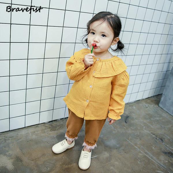 Blusas para bebés Versión de primavera y otoño de algodón puro Camisa de manga larga con solapa grande para bebés Niñas escolares Blusas para niños