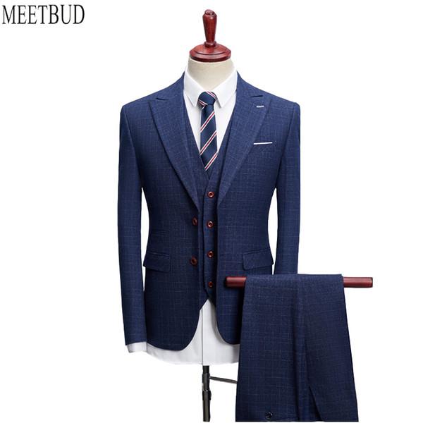 MEETBUD Hot sale men suit for wedding slim fit prom party man dark blue plaid business casual suits dress (jacket+pants+vest)