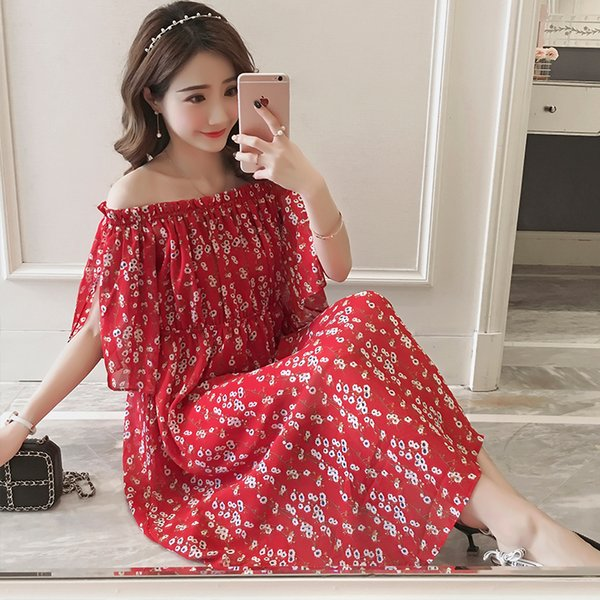 Floral Printed Chiffon Maternity Long Dress Summer Fashion Boho Beanch Style Clothes for Pregnant Women Pregnancy Dresses
