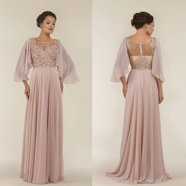 Blush Pink A Line Mother of the Bride Dress 3/4 Long Sleeves Beaded Lace Formal Prom Gowns Plus Size Wedding Guest Dress
