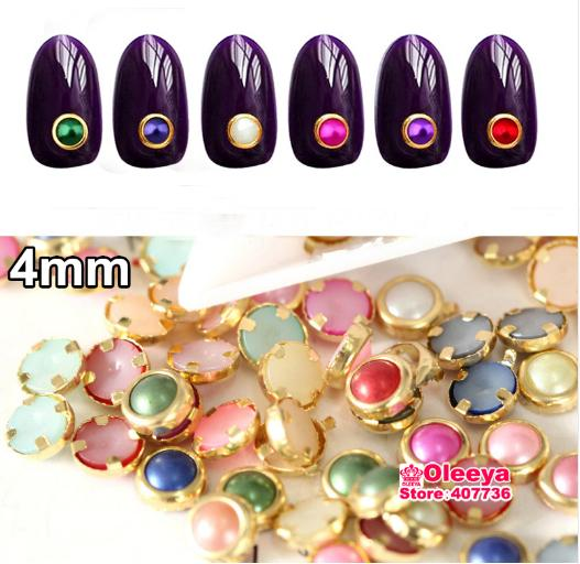 200pcs/bag 3D Nail Art Decorations Mixed Colors 4mm Metal Alloy Edge Glitters ABS Resin Half Round Pearls Beads For Nails H0249