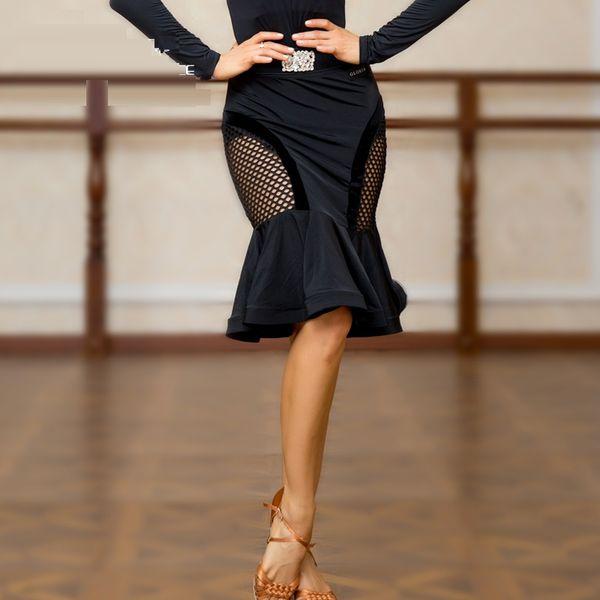 Free Shipping Adult/Girl Latin Dance Dress salsa tango Cha cha Ballroom Competition Practice Dance Dress Black Mesh stitching fishtail skirt