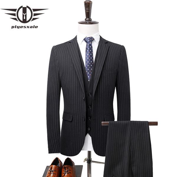 Plyesxale Black Blue Striped Suit Men Slim Fit 3 Piece Mens Wedding Suits Classic Formal Suits For Men Jacket Pants Vest Q281