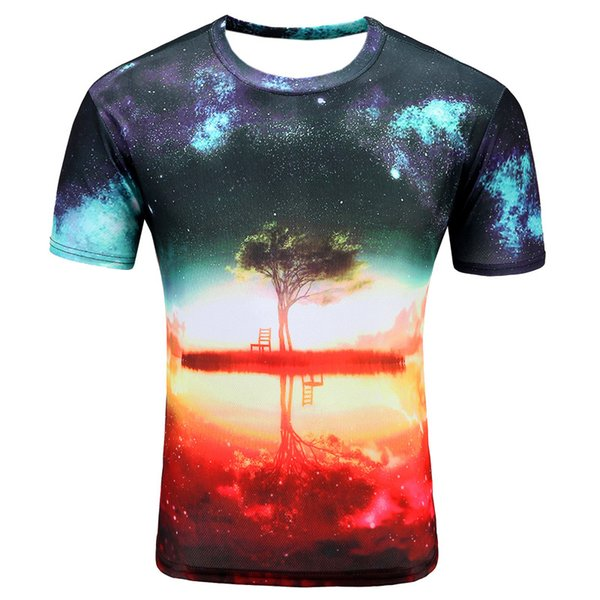 Erkek Rahat Kırmızı Renk 3D Yansıma Baskı Örgü Kumaş Yuvarlak Boyun Kısa Kollu T-Shirt 1 adet / torba Damla Nakliye
