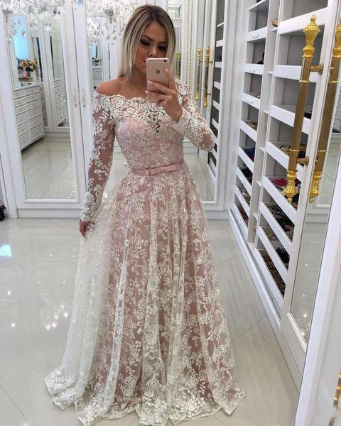 Großhandel Full Lace Prom Kleider Lange 2018 Erröten Rosa A Linie ...