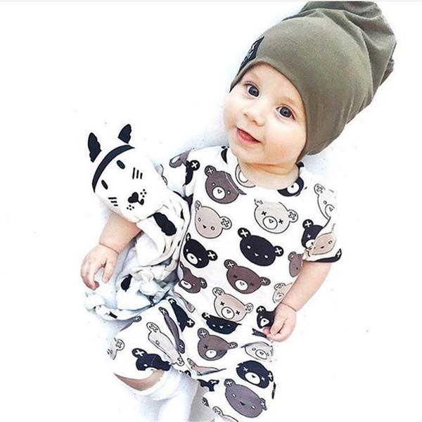 Baby boy girl INS mamelucos 2018 nuevos niños ins Patrón de oso pequeño mamelucos de manga corta ropa de bebé B001