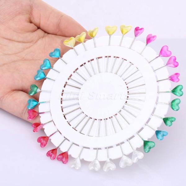 30PCS Cute 11.5cm Mixed Colors Heart Head Pins Pinwheel Round Pearl Head Pins Decorative Sewing Tailoring Dressmaking Pin