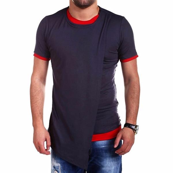 Asian Size Brand Clothing Fashion Long Style Irregular Designed Short Sleeves T Shirt For Men Casual Tops Men 'S T Shirt Street