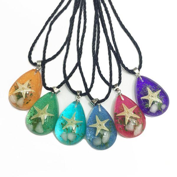 Natural resin starfish Pendant necklaces specimen Round luminous stone jewelry Tourist souvenir starfish amber necklaces for family