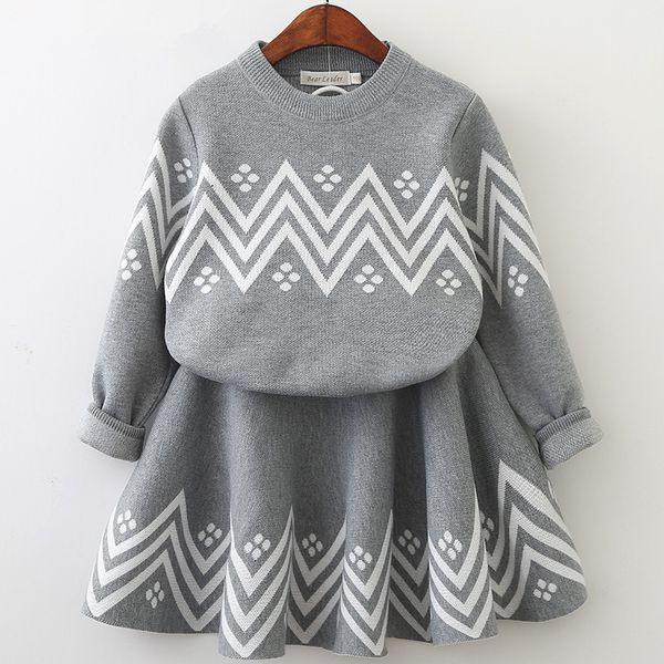 Bear Leader Girls Dress 2018 Winter Geometric Pattern Dress Long Sleeve Girls Clothes Top Coat+ Tutu Dress Sweater Knitwear 2pcs