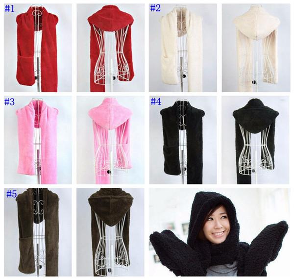 Fashion Women Winter Warm Soft Plush Faux Fur Hooded Cap Hat Scarves Hood Pocket Gloves Scarf women accessories MMA729