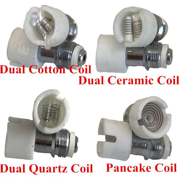 dual quartz wax coil Ceramic Cotton Pancake rebuildable atomizer core for M6 Glass globe dry herb vaporizer DHL free to Canada USA