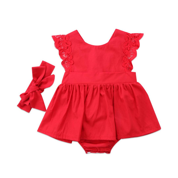Newborn Toddler Baby Girl Bodysuit Dress Clothes Lace Sleeveless Headband Red Cute Lovely Kids Outfit Summer Fashion New 2018