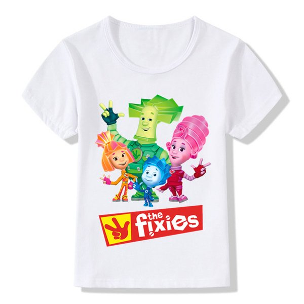 children s russian cartoon the fixies design funny t shirts boys girls great tops tees kids casual clothes for toddler hkp5148 - Christmas Shirts For Boys