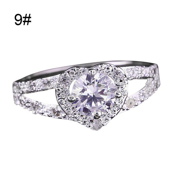 Nueva moda mujer anillo en forma de corazón anillo de circón en forma de corazón amor boda joyería del banquete de boda anillos de dedo femeninos